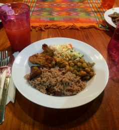First meal at Belize: baked chicken, curried chickpeas, coleslaw and of course rice and beans.