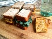 Grilled tofu sandwiches