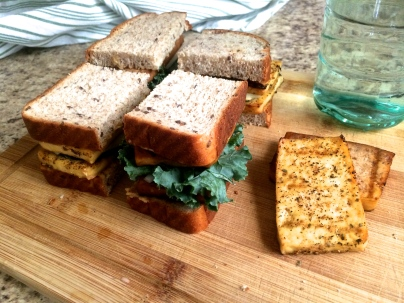 Grilled tofu sandwiches