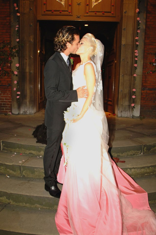 Gwen Stefani's pink Dior wedding dress