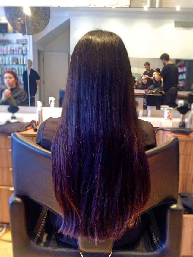 long hair in salon